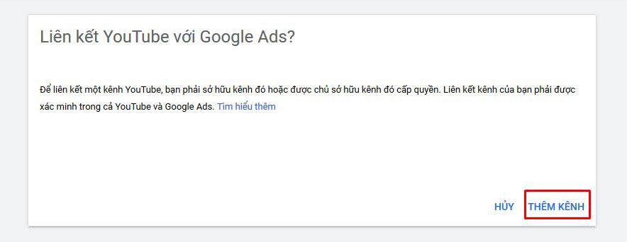 Liên kết youtube với Google Ads